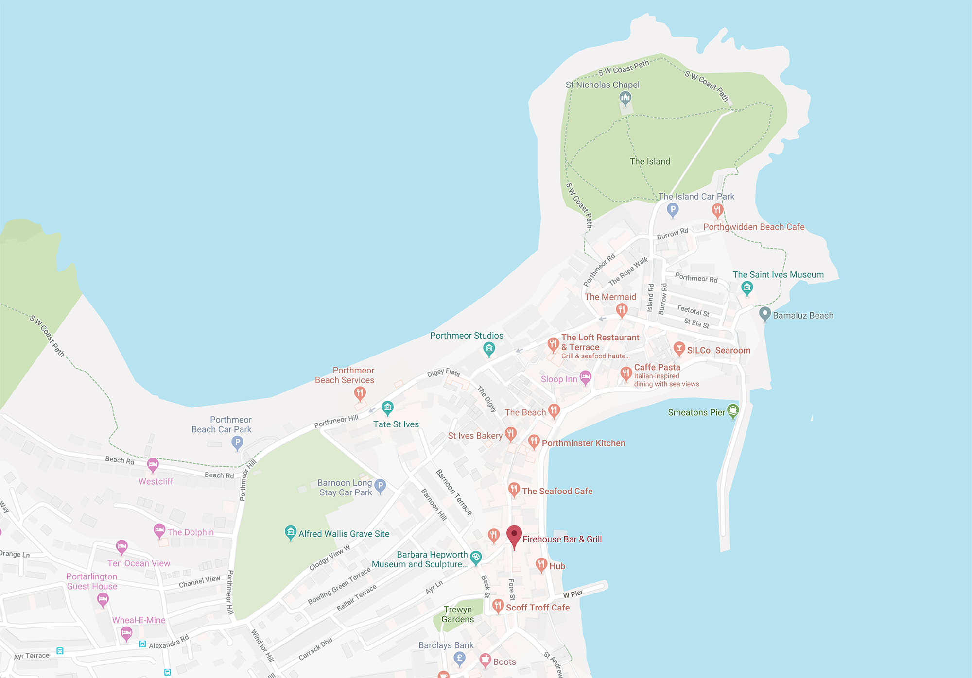 Find Us The Firehouse St Ives Cornwall - Find-us-map